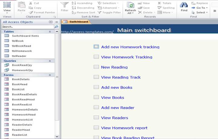 Access Book Reading And Homework Tracking Database Templates