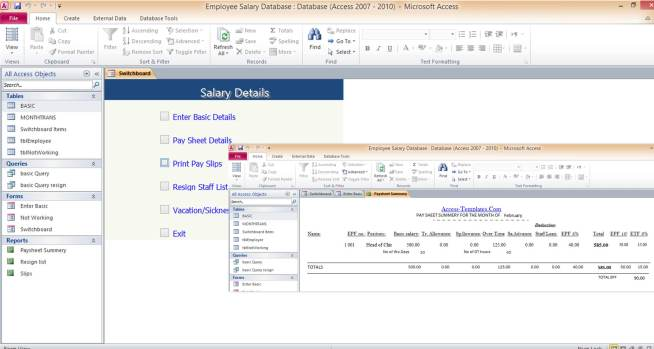 download salary microsoft access templates and access database examples