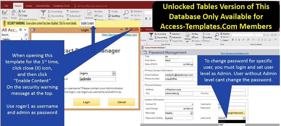 Access Database Enterprise Password Management System Templates