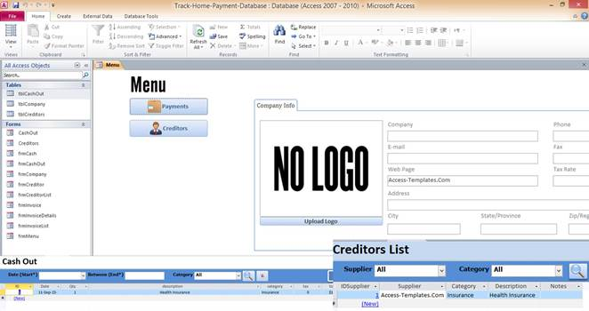 microsoft access templates 2013