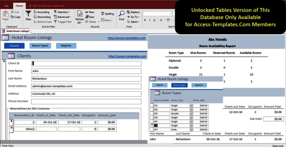 Access Hotel Management System Software Database Templates