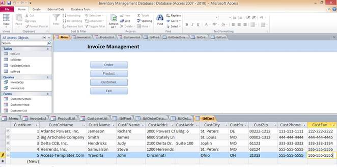 Access Database Inventory Management Templates