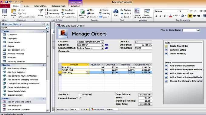 Access Inventory Order Shipment Management Database Templates