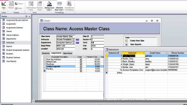 Microsoft Access Student Database Templates