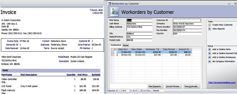 access templates work orders invoice services management database, Invoice examples