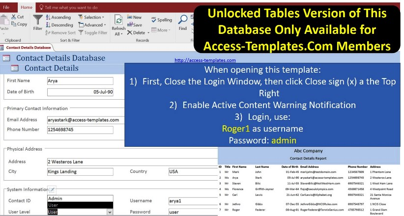 Access Templates For Business Contact Manager Software With Login...