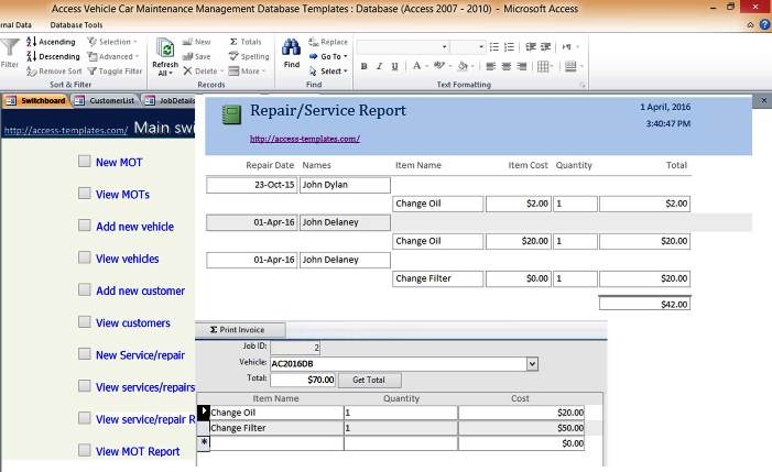 Car And Vehicle Maintenance Access Database Management Repair - Microsoft access invoice database template free for service business