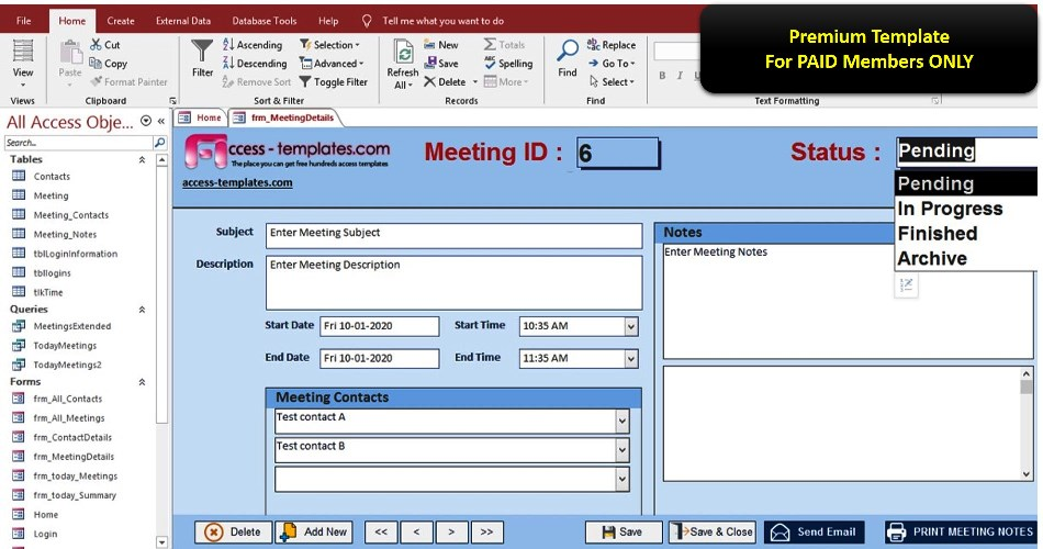 Meeting Minutes Notes And Invitation Management Access Database...