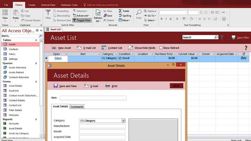 Microsoft access asset tracking management database for Ms access html template