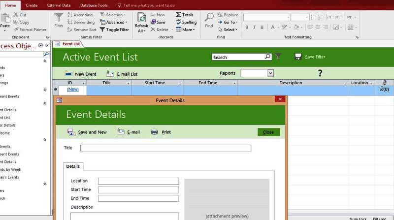 Microsoft Access Event List Management Templates Database