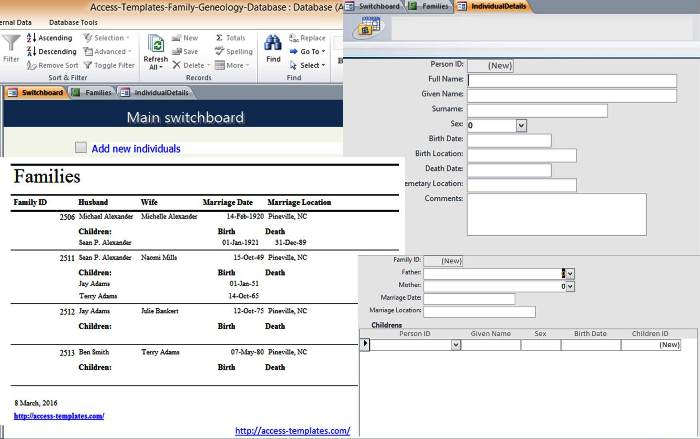 preview of microsoft access family tree genealogy history templates database this access database templates was added on 2016 03 08 165607 and compatible