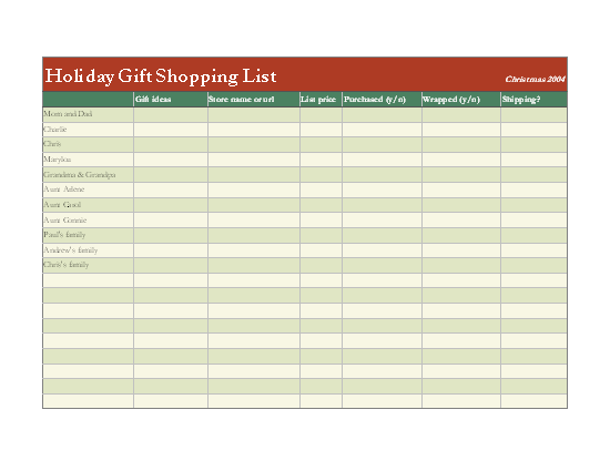 Holiday Gift Shopping List