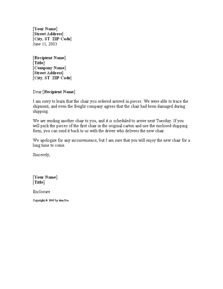Letter Offering To Replace Damaged Item For Microsoft Sample Access