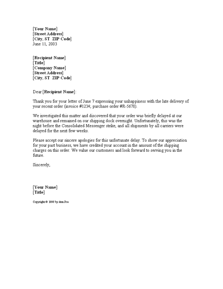 letter apologizing for shipping delay for microsoft sample