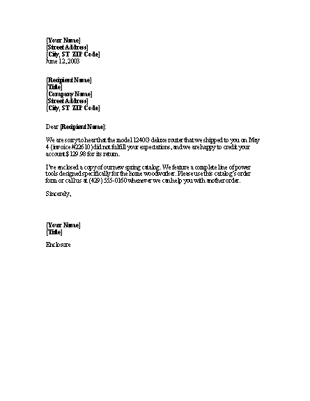 Letter apologizing for unsatisfactory item with account for Account closure letter template