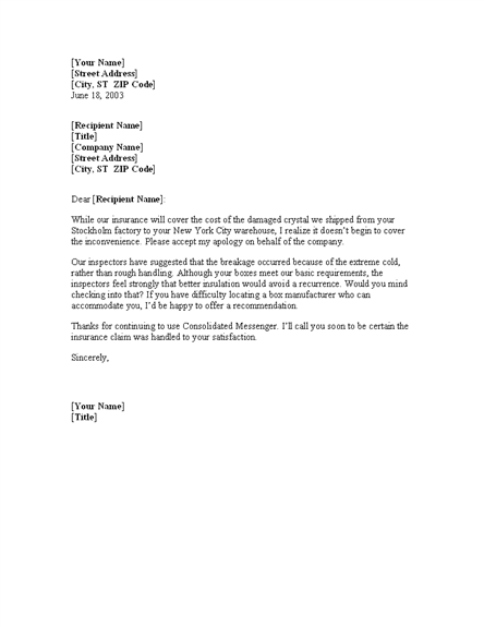 letter of explanation to underwriter examples letter offering explanation for damaged shipment for 16804
