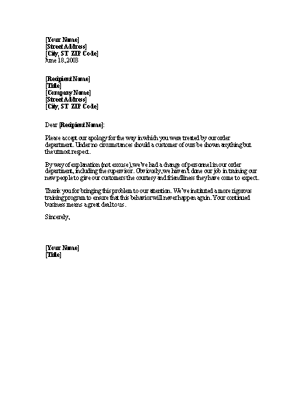 Letter Apologizing To Client For Discourteous Treatment