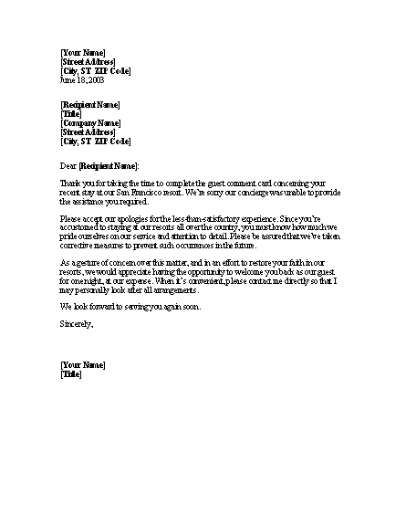 Apology Letter For Poor Service With Free Offer For Microsoft – Example Apology Letter