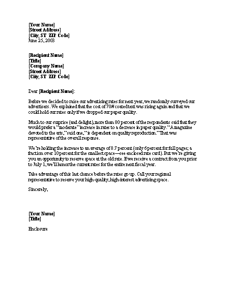 Notice of rate increase