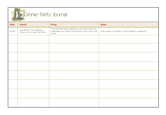Dinner party journal for microsoft personal access for Microsoft access 2003 templates