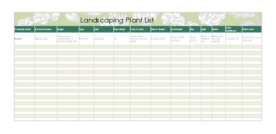 Landscaping plant list for excel 2003 or newer personal access for Microsoft access 2003 templates