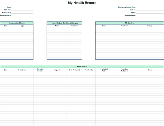 personal records organizer template