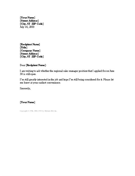 letter requesting status of open position for microsoft