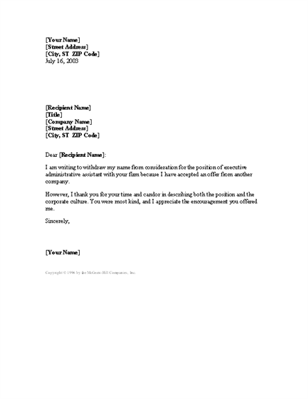 Application letter template word