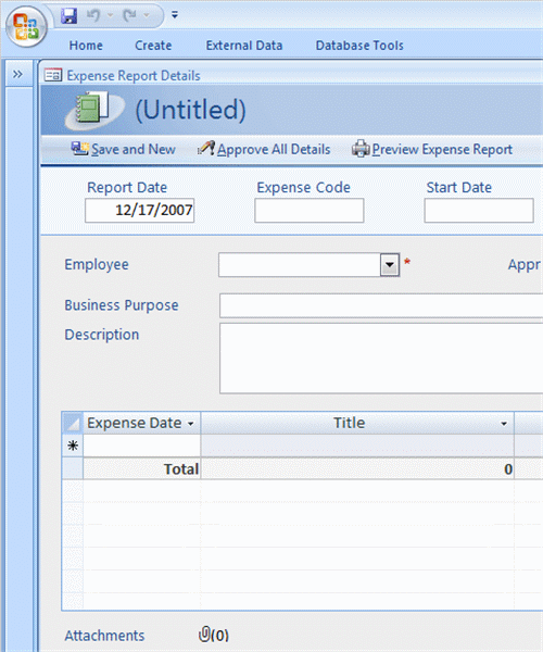 ms access 2007 templates - expense reports for access 2007 or newer business access