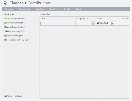 ms access 2007 templates - charitable contributions for microsoft non profit access