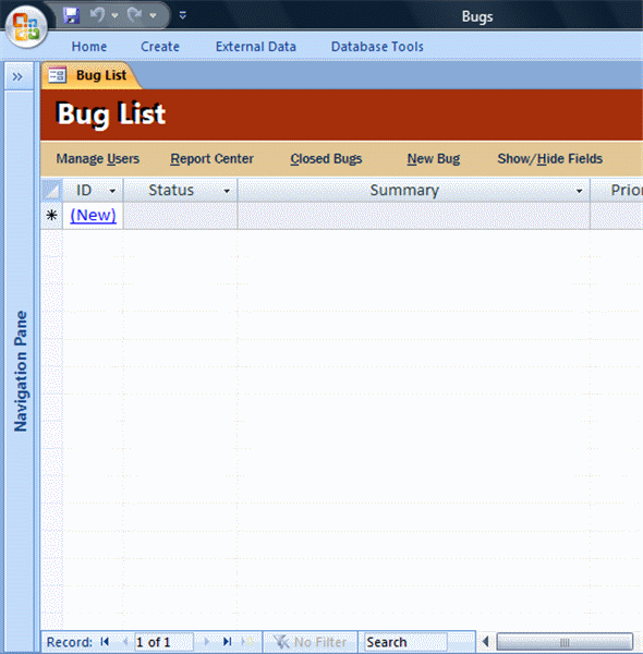 Log Track and Resolve Bug Tracking database