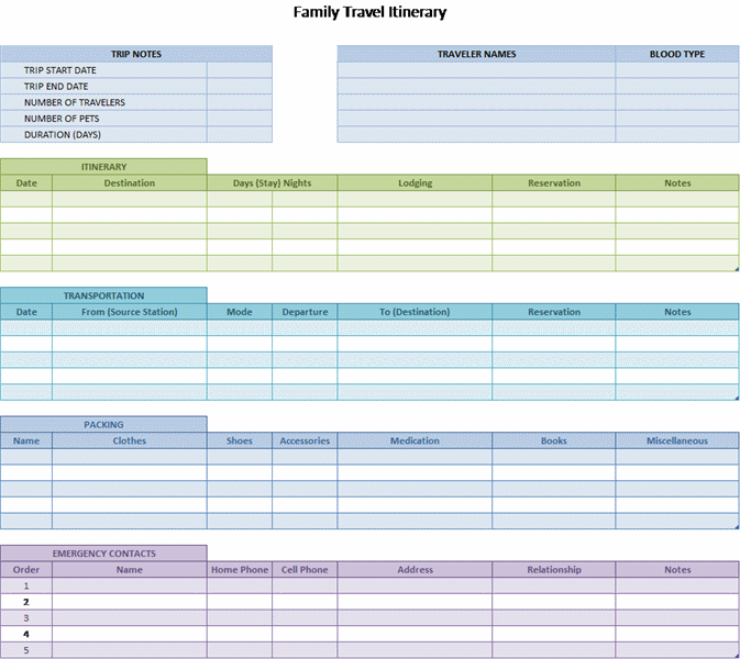 family travel itinerary for microsoft personal access