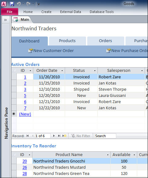 Database Tracks Inventory Orders Supply and Reports