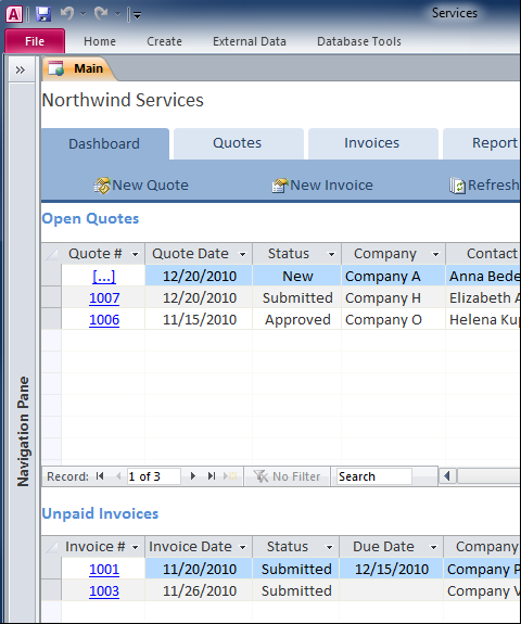 Create maintain comprehensive business services database for Ms access templates 2013