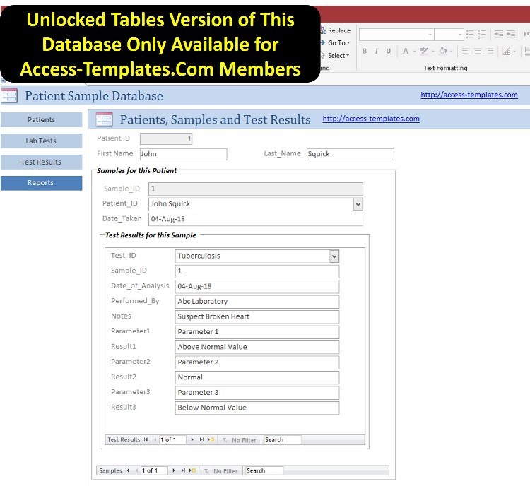 Access Database Templates for Laboratory Administration