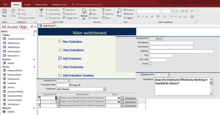 ms office access templates - access employee performance evaluation form templates
