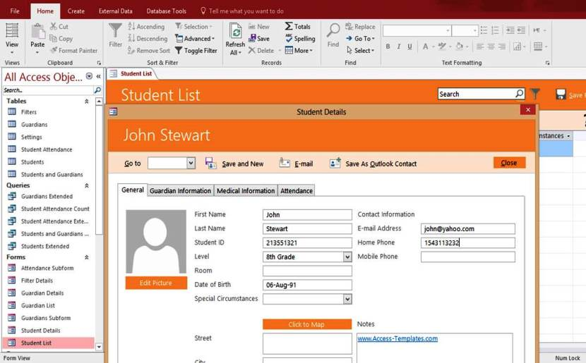 Access Student Database Management System Templates For Microsoft