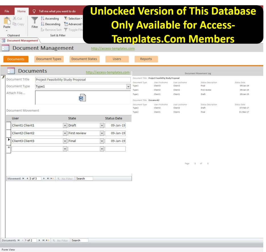 Document Management System Database For Microsoft Access Template