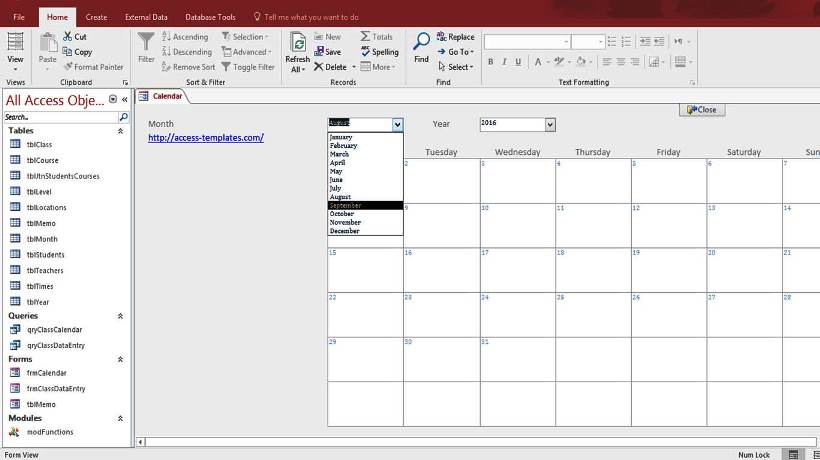 Microsoft Access Calendar Form Template For Microsoft Access 2016
