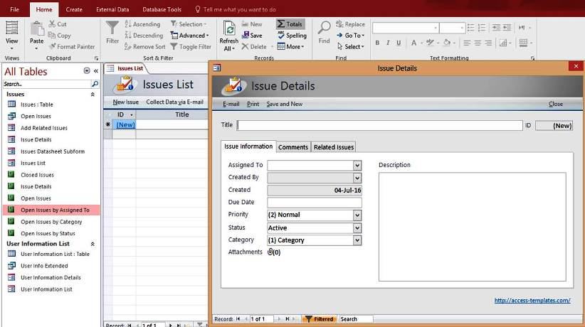 Microsoft access issues list tracking templates database for Microsoft access help desk template