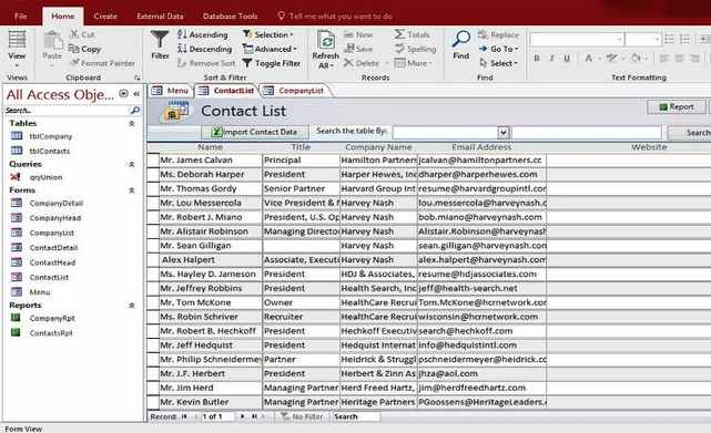 Microsoft Access Personal Company Contact Database Templates