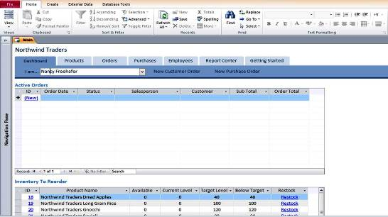 Microsoft access templates northwind sales database for for Ms access templates 2013