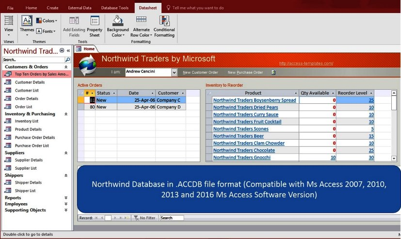Ms access northwind database for microsoft access 2016 for Ms access 2007 templates