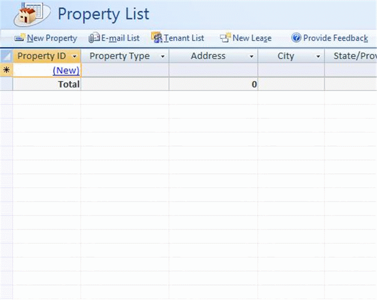 Real estate property database for Inventory management template access 2007