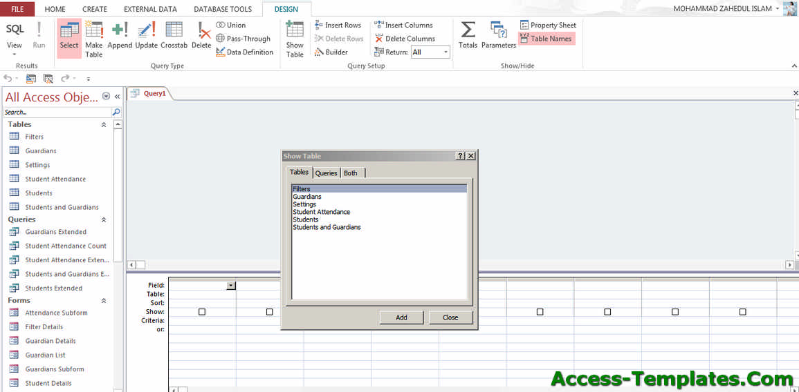 How to Create MS Access Query Parameters