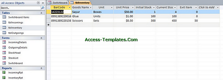 access templates inventory management