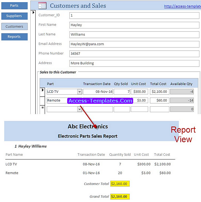 small business access database template