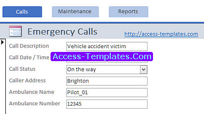 Ambulance Service Dispatch Software for MS Access