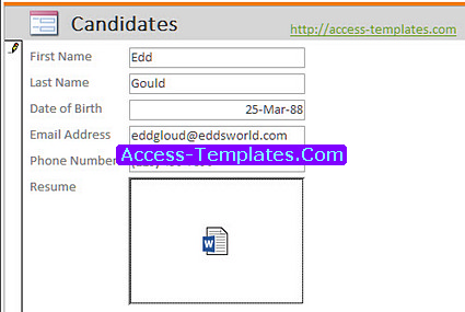Applicant Tracking System for MS Access Templates