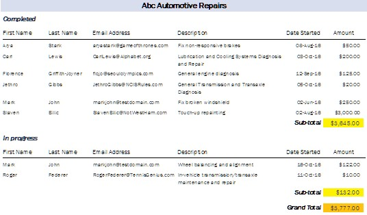 car and auto repair database on microsoft access templates